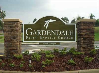 Gardendale First Baptist Front Entrance Sign