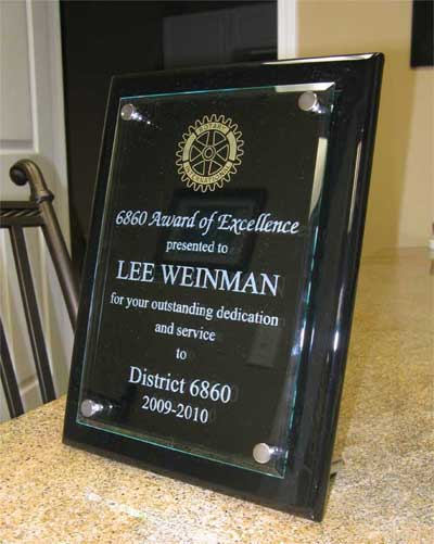etched glass over wood award