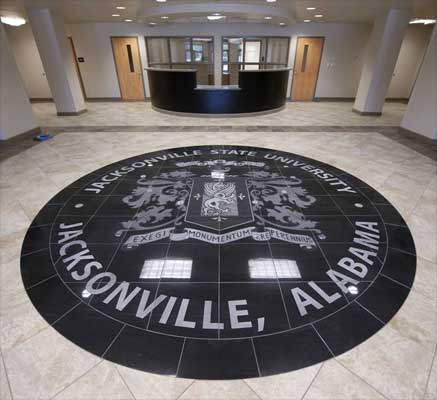 Jacksonville State University black granite floor mural